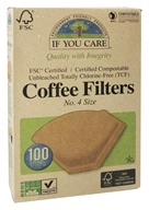 Coffee Filters #4 Size Cone Style Unbleached Totally Chlorine-Free (TCF) - 100 Filter(s) by If You Care