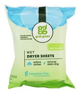 Wet Dryer Sheets Fabric Softener Fragrance Free - 32 Sheet(s) by Grab Green