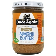 Natural Almond Butter Creamy Salt Free Unsweetened & Roasted - 16 oz. by Once Again