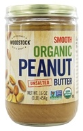 Organic Peanut Butter Smooth Unsalted - 16 oz. by Woodstock Farms