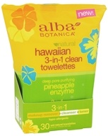 Hawaiian 3-In-1 Clean Towelettes Pineapple Enzyme - 30 Towelette(s) by Alba Botanica (阿尔巴)