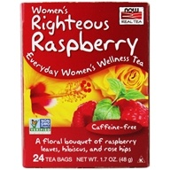NOW Real Tea Women's Wellness Tea Caffeine-Free Righteous Raspberry - 24 Tea Bags by NOW Foods