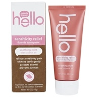 Sensitivity Relief SLS Free Toothpaste with Fluoride Soothing Mint with Coconut Oil - 4 oz. by Hello Products