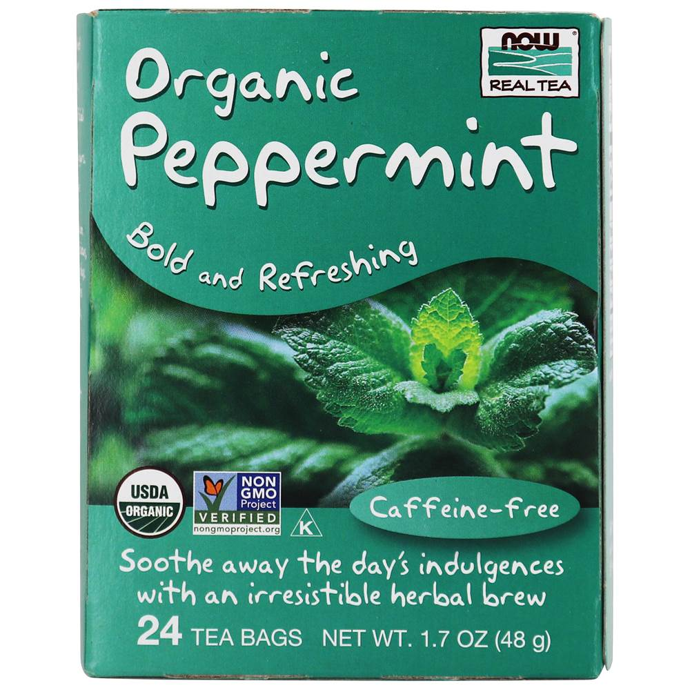 NOW Real Tea Organic Tea Peppermint - 24 Tea Bags by NOW Foods