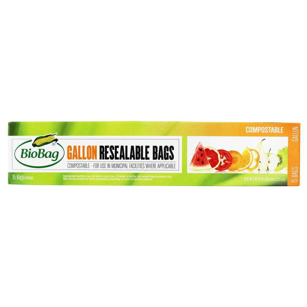 Compostable Resealable Bags 1 Gallon - 15 Bags by BioBag