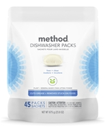 Power Dish Dishwasher Detergent Packs Triple Action Cleaning Power Free + Clear - 45 Pack by Method
