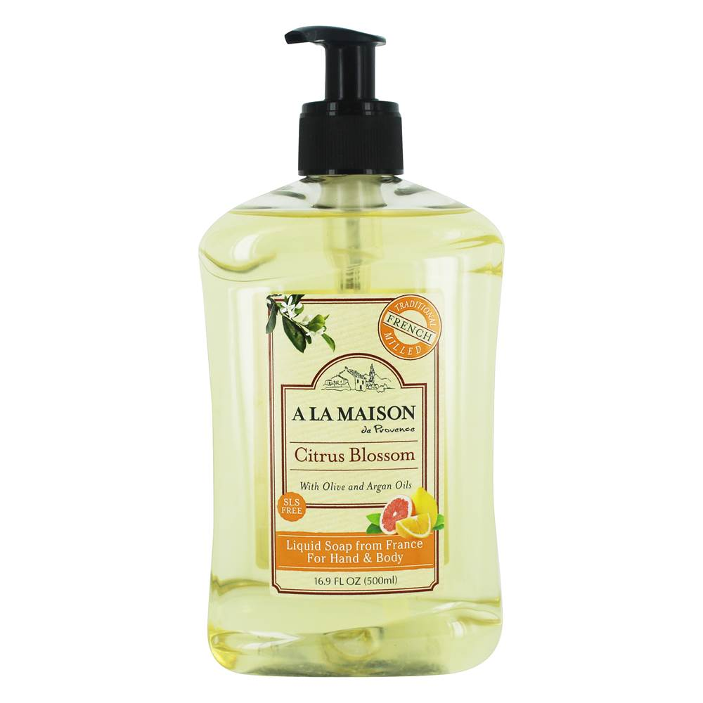 Traditional French Milled Liquid Soap for Hand & Body Citrus Blossom with Olive & Argan Oils - 16.9 fl. oz. by A La Maison