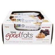Keto Friendly Snack Bar Box Peanut Butter Chocolatey - 12 Bars by Love Good Fats