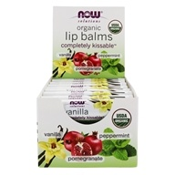 NOW Solutions Completely Kissable Assorted Organic Lip Balms Vanilla, Peppermint, Pomegranate - 24 Pack by NOW Foods