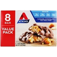 Snack Bars Box Value Pack Caramel Chocolate Nut Roll - 8 Bars by Atkins