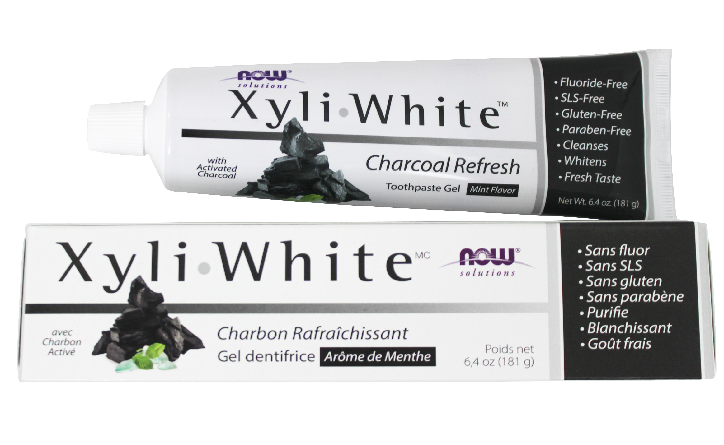 NOW Solutions XyliWhite Charcoal Refresh Toothpaste Gel Mint - 6.4 oz. by NOW Foods