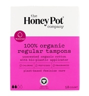 100% Organic Regular Tampons with Bio-Plastic Applicator Unscented - 18 Count by The Honey Pot Company