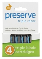Razor Blade Replacement Triple Blade - 4 Cartridge(s) by Preserve