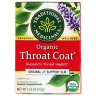 Organic Throat Coat Herbal Tea Original with Slippery Elm - 16 Tea Bags by Traditional Medicinals